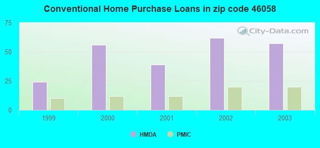 Conventional Home Purchase Loans in zip code 46058