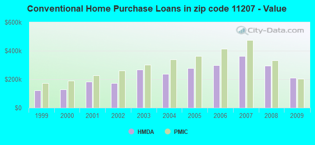 Conventional Home Purchase Loans in zip code 11207 - Value