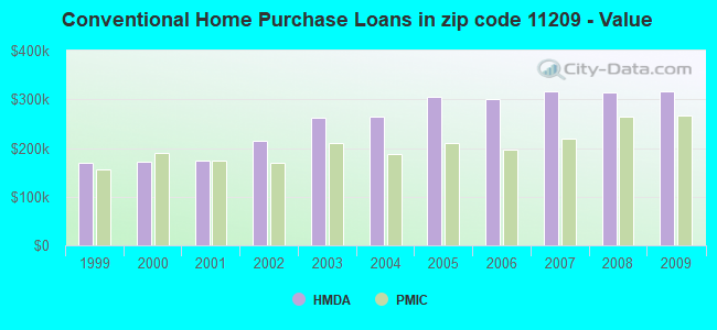 Conventional Home Purchase Loans in zip code 11209 - Value