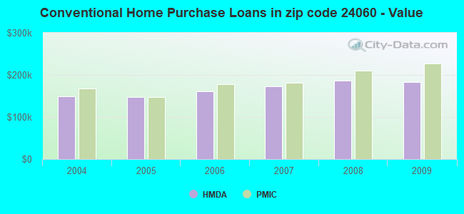 Conventional Home Purchase Loans in zip code 24060 - Value
