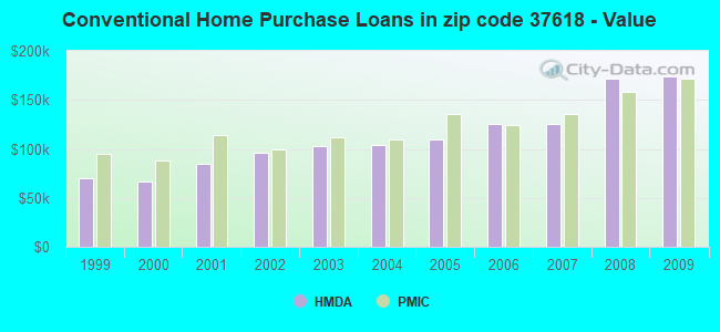 Conventional Home Purchase Loans in zip code 37618 - Value