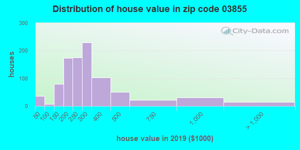 Zip code 03855 house/condo values in 2010