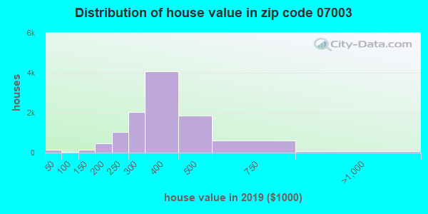Zip code 07003 house/condo values in 2010