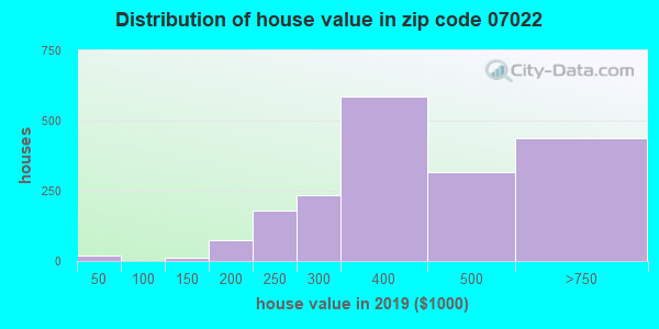 Zip code 07022 house/condo values in 2010