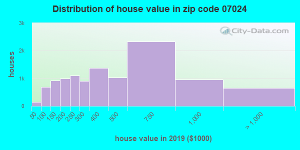 Zip code 07024 house/condo values in 2010