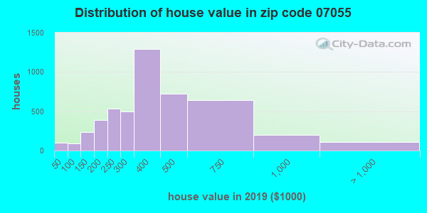 Zip code 07055 house/condo values in 2010