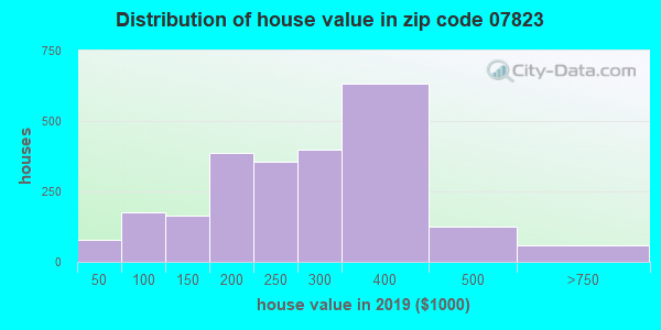 Zip code 07823 house/condo values in 2010