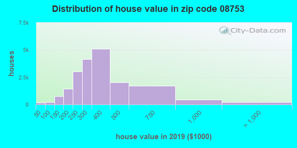 Zip code 08753 house/condo values in 2010