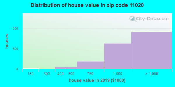 Zip code 11020 house/condo values in 2010
