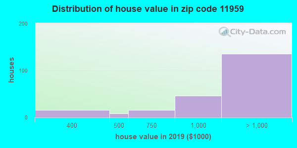 Zip code 11959 house/condo values in 2010