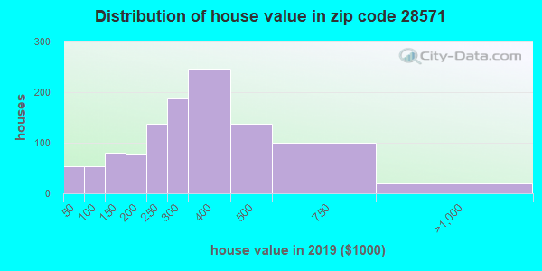 Zip code 28571 house/condo values in 2010
