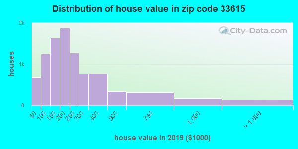 Zip code 33615 house/condo values in 2010