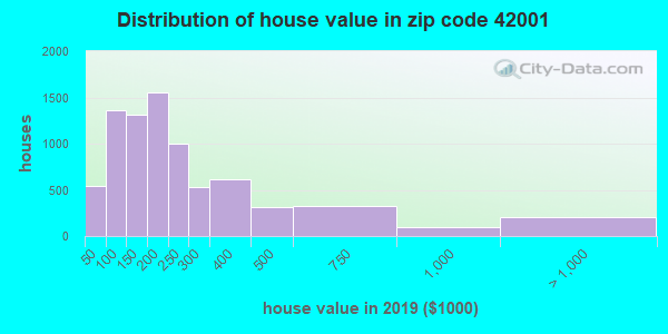 Zip code 42001 house/condo values in 2010