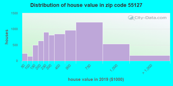 Zip code 55127 house/condo values in 2010