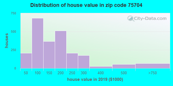 Zip code 75704 house/condo values in 2010