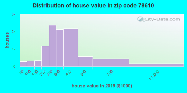 Zip code 78610 house/condo values in 2010