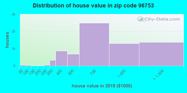 Zip code 96753 house/condo values in 2010