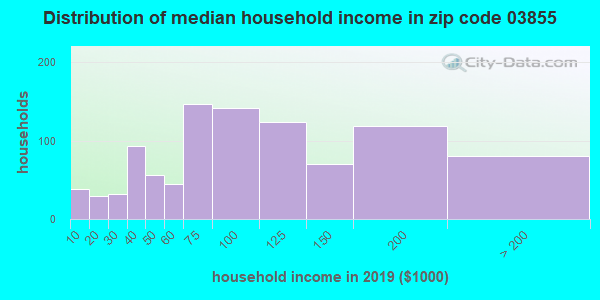 Zip code 03855 household income distribution in 2009