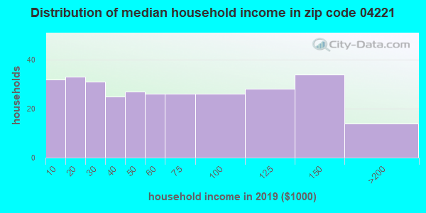 Zip code 04221 household income distribution in 2009