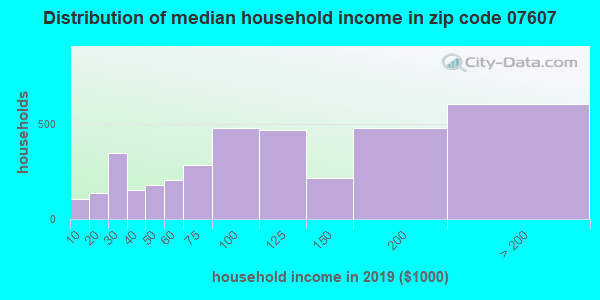 Zip code 07607 household income distribution in 2009