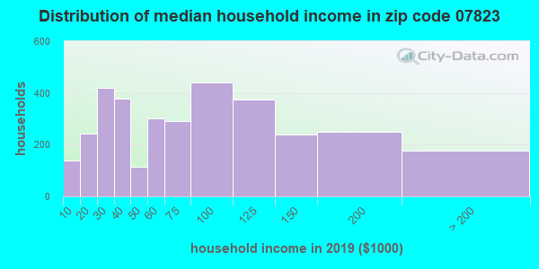 Zip code 07823 household income distribution in 2009