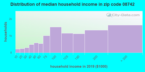 Zip code 08742 household income distribution in 2009