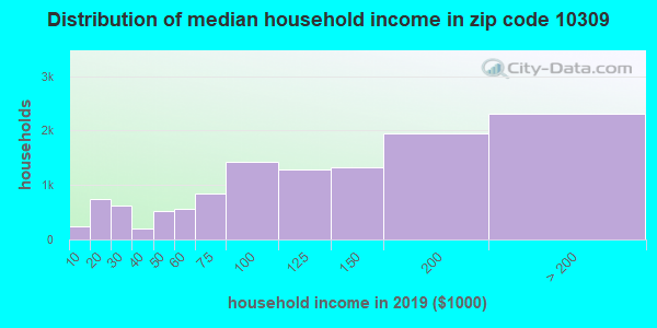 Zip code 10309 household income distribution in 2009