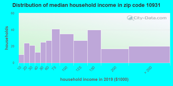 Zip code 10931 household income distribution in 2009