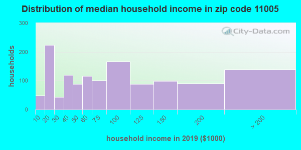 Zip code 11005 household income distribution in 2009