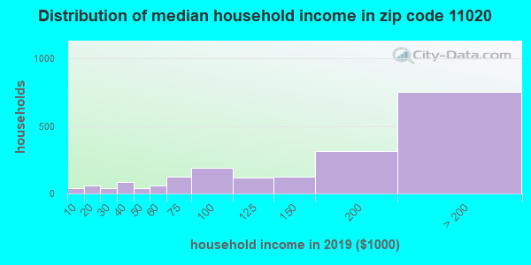 Zip code 11020 household income distribution in 2009