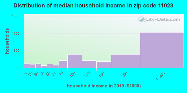 Zip code 11023 household income distribution in 2009