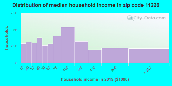 Zip code 11226 household income distribution in 2009