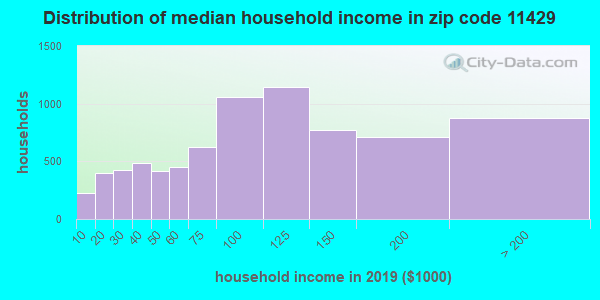Zip code 11429 household income distribution in 2009