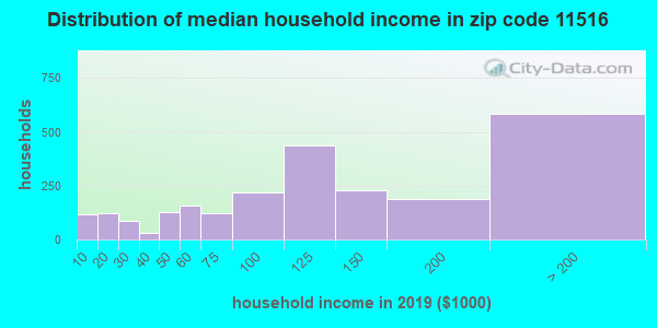Zip code 11516 household income distribution in 2009