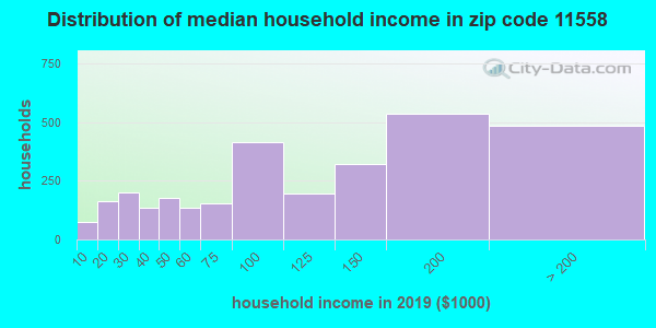 Zip code 11558 household income distribution in 2009