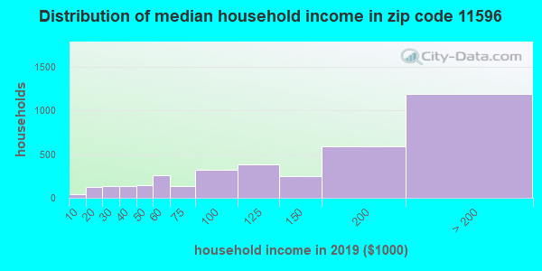 Zip code 11596 household income distribution in 2009