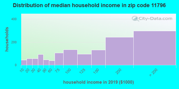 Zip code 11796 household income distribution in 2009