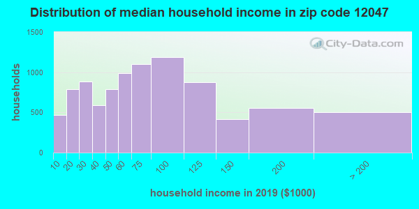 Zip code 12047 household income distribution in 2009