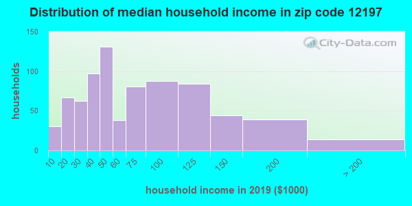 Zip code 12197 household income distribution in 2009