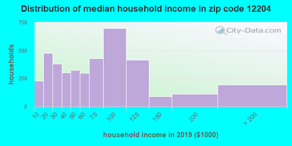 Zip code 12204 household income distribution in 2009