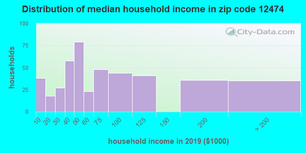 Zip code 12474 household income distribution in 2009