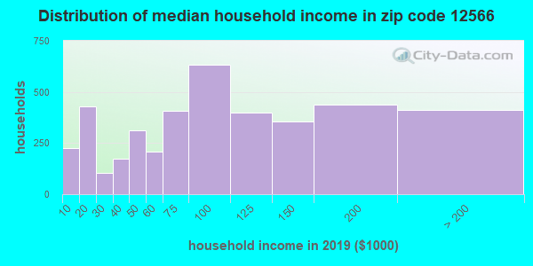 Zip code 12566 household income distribution in 2009