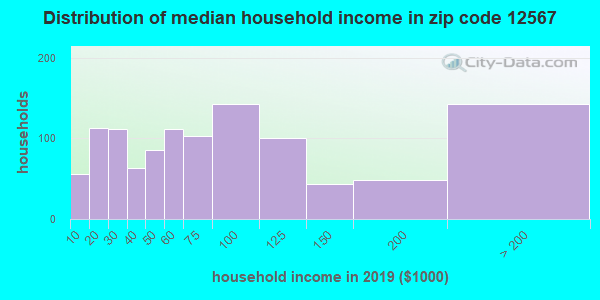Zip code 12567 household income distribution in 2009