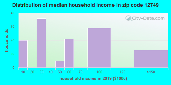 Zip code 12749 household income distribution in 2009