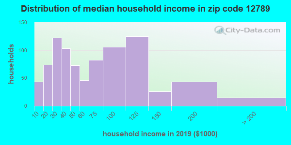 Zip code 12789 household income distribution in 2009