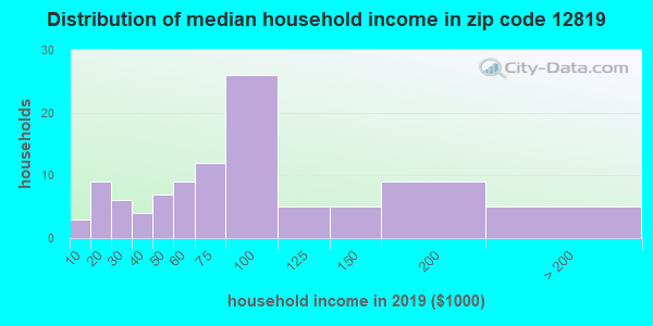 Zip code 12819 household income distribution in 2009