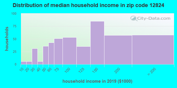 Zip code 12824 household income distribution in 2009