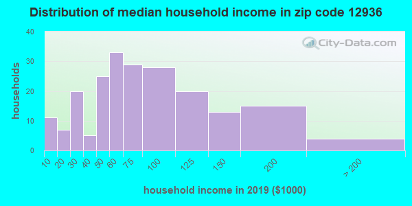 Zip code 12936 household income distribution in 2009