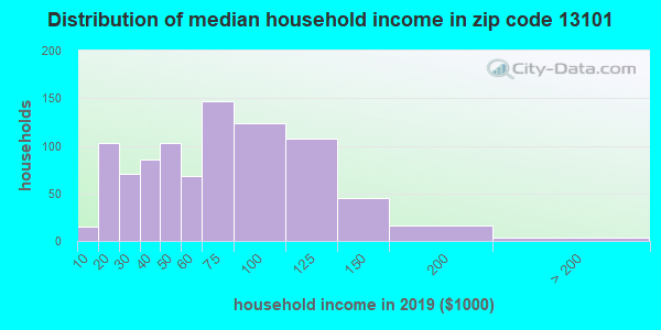 Zip code 13101 household income distribution in 2009