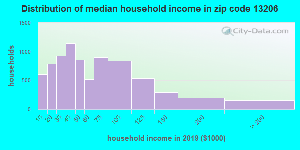Zip code 13206 household income distribution in 2009
